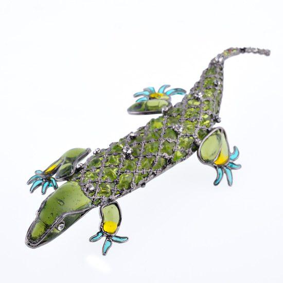 Broche Lézard vert